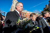 New York, NY - 14 November 2015 NYC  the Mayor Bill de Blasio and French Consul General Bertrand Lortholary attend a vigil in Washington Square Park to commemorate the victims of the 13 November Paris terror attacks.