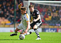 Port Vale's Luke Hannant is fouled by Lincoln City's Lee Frecklington<br /> <br /> Photographer Andrew Vaughan/CameraSport<br /> <br /> The EFL Sky Bet League Two - Port Vale v Lincoln City - Saturday 14th April 2018 - Vale Park - Burslem<br /> <br /> World Copyright &copy; 2018 CameraSport. All rights reserved. 43 Linden Ave. Countesthorpe. Leicester. England. LE8 5PG - Tel: +44 (0) 116 277 4147 - admin@camerasport.com - www.camerasport.com