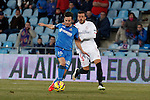 Getafe´s Sarabia (L) and Sevilla´s Diogo during 2014-15 La Liga match at Alfonso Perez Coliseum stadium in Getafe, Spain. February 08, 2015. (ALTERPHOTOS/Victor Blanco)