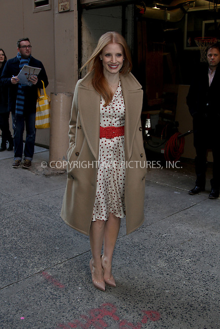 WWW.ACEPIXS.COM......January 8, 2013, New York, NY.......Jessica Chastain leaving LIVE! with Kelly on January 8, 2013 in New York City...........By Line: Zelig Shaul/ACE Pictures....ACE Pictures, Inc..Tel: 646 769 0430..Email: info@acepixs.com