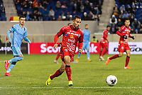 HARRISON, NJ - FEBRUARY 26: Jose David Sanchez Cruz #12 of AD San Carlos during a game between AD San Carlos and NYCFC at Red Bull on February 26, 2020 in Harrison, New Jersey.