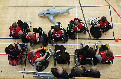27 MAY 2013 - DONCASTER, GBR - The Solent Sharks team poses for photographs after their 2013 Great Britain Wheelchair Rugby Nationals match against the Gaelic Warriors at The Dome in Doncaster, South Yorkshire (PHOTO (C) 2013 NIGEL FARROW)