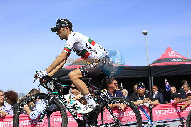 Jose Mendes (POR) Bora-Hansgrohe at sign on before Stage 1 of the 100th edition of the Giro d'Italia 2017, running 206km from Alghero to Olbia, Sardinia, Italy. 4th May 2017.<br /> Picture: Ann Clarke   Cyclefile<br /> <br /> <br /> All photos usage must carry mandatory copyright credit (&copy; Cyclefile   Ann Clarke)