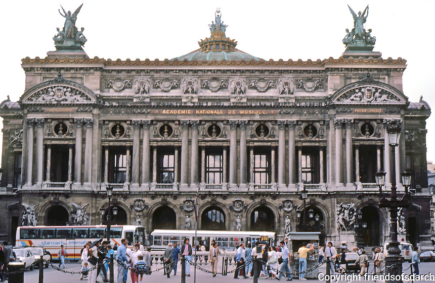 "Paris: The Opera--main facade overlooking Place de L'Opera, 1849-1875. Architect Charles Garnier. ""The most successful monument of the Second Empire."