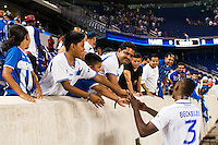 Honduras defender Brayan Beckeles (3) greets fans after the match. Honduras defeated Haiti 2-0 during a CONCACAF Gold Cup group B match at Red Bull Arena in Harrison, NJ, on July 8, 2013.
