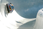 11 February 2005: Lake Placid, NY, USA - Florian Grassl, representing Germany, competes in the FIBT World Cup Men's Skeleton competition, ranking 10th for the day, at the Verizon Sports Complex on Mount Van Hoevenburg,  Lake Placid, NY...Mandatory Photo Credit: Ed Wolfstein Photo..