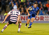8th September 2017, RDS Arena, Dublin, Ireland; Guinness Pro14 Rugby, Leinster versus Cardiff Blues; Rob Kearney of Leinster kicks the ball between defenders