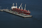 Aerial view of Shipping Tanker unloading docked at Penn Terminals in Philadelphia