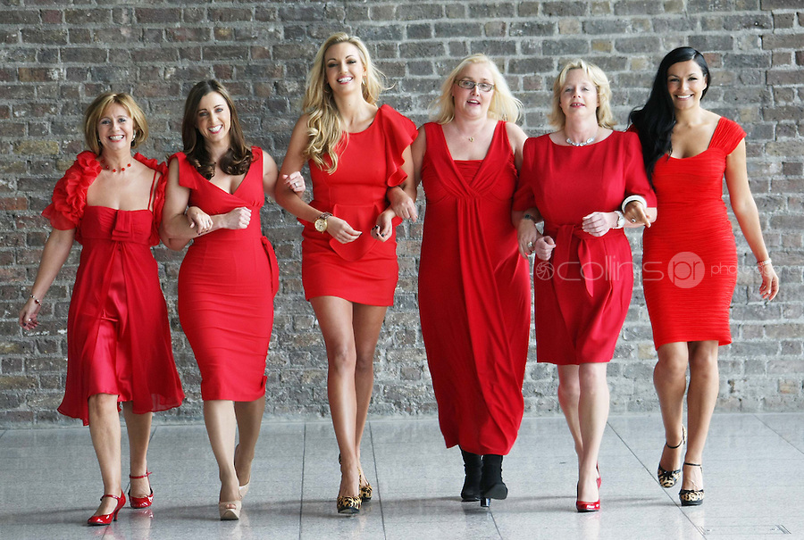 25/08/'10 Martina Stanley who plays Dolores in Fair City, TV3 presenter, Sinead Desmond, former Miss World, Rosanna Davison, Heart attack survivor, Charlotte Heaphey (47), Nessa Childers MEP and singer, Hazel Kaneswarren pictured at CHQ this morning at a photocall ' This is not a Red Dress, It's a Red Alert' by the Irish Heart Foundation to publicise the fact that heart disease is not just a man's disease, it's the No.1 killer of Irish women. The national charity fighting herat disease and stroke urges all women to take action now to reduce their risk and know the symptoms of heart attack and stroke...Picture Colin Keegan, Collins, Dublin.