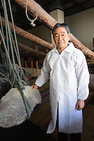 CEO of Baikodo Inc, Hiketa, Kagawa Pref, Japan, February 2, 2012. Wasanbon is a special kind of hand-made Japanese sugar often used for traditional sweets. It is finer, more fragrant and more expensive than normal sugar. It is a specialty of Kagawa Prefecture on the island of Shikoku. Baikodo has been making Wasanbon for over 50 years.