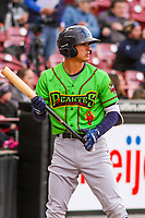 Lake County Captains shortstop Tyler Freeman (7) looks on from the on deck circle during a Midwest League game against the Wisconsin Timber Rattlers on May 10, 2019 at Fox Cities Stadium in Appleton, Wisconsin. Wisconsin defeated Lake County 5-4. (Brad Krause/Four Seam Images)
