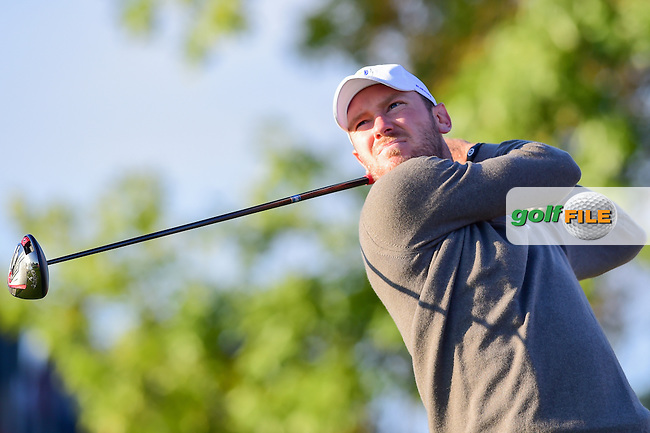Chris Wood (ENG) watches his tee shot on 2 during the Saturday morning foursomes at the Ryder Cup, Hazeltine National Golf Club, Chaska, Minnesota, USA.  10/1/2016<br /> Picture: Golffile | Ken Murray<br /> <br /> <br /> All photo usage must carry mandatory copyright credit (&copy; Golffile | Ken Murray)