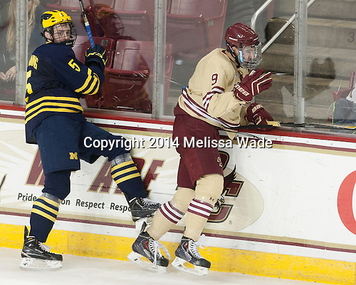 Michael Downing (Michigan - 5), Brendan Silk (BC - 9) - The Boston College Eagles defeated the visiting University of Michigan Wolverines 5-1 (EN) on Saturday, December 13, 2014, at Kelley Rink in Conte Forum in Chestnut Hill, Massachusetts.