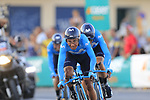 Movistar Team with Nairo Quintana (COL) on the front during Stage 1 of La Vuelta 2019, a team time trial running 13.4km from Salinas de Torrevieja to Torrevieja, Spain. 24th August 2019.<br /> Picture: Eoin Clarke | Cyclefile<br /> <br /> All photos usage must carry mandatory copyright credit (© Cyclefile | Eoin Clarke)