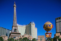 Las Vegas, Nevada, USA - Paris Las Vegas Hotel and Casino on The Strip, with Eiffel Tower, Arc de Triomphe, and Montgolfier Balloon Replicas
