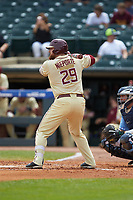 Quincy Nieporte (29) of the Florida State Seminoles at bat against the North Carolina Tar Heels in the 2017 ACC Baseball Championship Game at Louisville Slugger Field on May 28, 2017 in Louisville, Kentucky. The Seminoles defeated the Tar Heels 7-3. (Brian Westerholt/Four Seam Images)