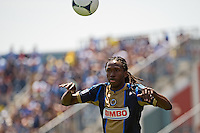 Keon Daniel (26) of the Philadelphia Union on a throw in. The New York Red Bulls defeated the Philadelphia Union  3-2 during a Major League Soccer (MLS) match at PPL Park in Chester, PA, on May 13, 2012.
