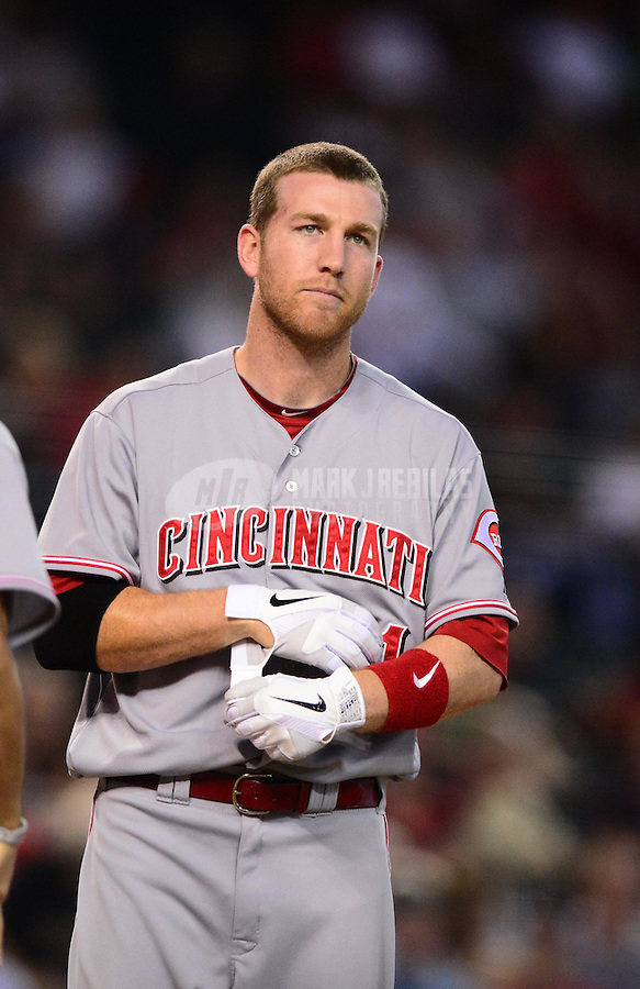 Aug. 29, 2012; Phoenix, AZ, USA: Cincinnati Reds third baseman Todd Frazier against the Arizona Diamondbacks at Chase Field. Mandatory Credit: Mark J. Rebilas-USA TODAY Sports