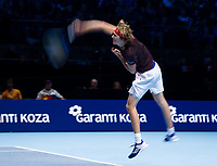 Alexander Zverev of Germany (3) in action against Marin Cilic of Croatia (5) in their Group Boris Becker match today - Zverev def Cilic 6-4, 3-6, 6-4<br /> <br /> Photographer Ashley Western/CameraSport<br /> <br /> International Tennis - Barclays ATP World Tour Finals - O2 Arena - London - Day 1 - Sunday 12th November 2017<br /> <br /> World Copyright &not;&copy; 2017 CameraSport. All rights reserved. 43 Linden Ave. Countesthorpe. Leicester. England. LE8 5PG - Tel: +44 (0) 116 277 4147 - admin@camerasport.com - www.camerasport.com