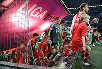 FUSSBALL   1. BUNDESLIGA  SAISON 2012/2013   5. Spieltag FC Bayern Muenchen - VFL Wolfsburg    25.09.2012 Javi , Javier Martinez, Torwart Manuel Neuer und Philipp Lahm (v. li., FC Bayern Muenchen) laufen in die Allianz Arena ein mit Einlaufkindern