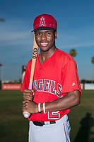 AZL Angels outfielder Drevian Williams-Nelson (2) poses for a photo before an Arizona League game against the AZL Padres 2 at Tempe Diablo Stadium on July 18, 2018 in Tempe, Arizona. The AZL Padres 2 defeated the AZL Angels 8-1. (Zachary Lucy/Four Seam Images)