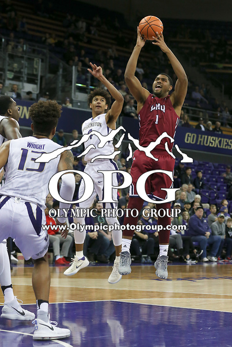 SEATTLE, WA - DECEMBER 17: Loyola Marymount's (1) Zafir Williams (F) pulls down a rebound against Washington.  Washington won 80-77 over Loyola Marymount at Alaska Airlines Arena in Seattle, WA.  (Photo by Jesse Beals/Icon Sportswire