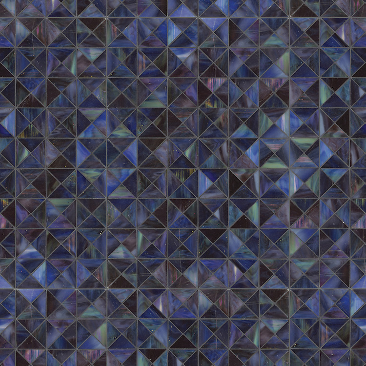 Christopher G1, a waterjet jewel glass mosaic, shown in Ametrine, is part of the Illusions™ Collection by Sara Baldwin for New Ravenna.