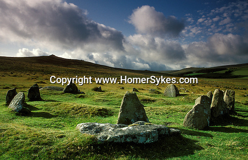 "Nine Stones stone circle, Near  Belstone Tor,  Dartmoor, Devon, England.Bronze Age. Also know as the ""Nine Maidens"""