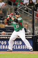 15 March 2009: #22 Christian Presichi of Mexico is seen at bat during the 2009 World Baseball Classic Pool 1 game 2 at Petco Park in San Diego, California, USA. Korea wins 8-2 over Mexico.