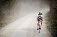 Luca Raggio (ITA/Neri Sottoli - Selle Italia - KTM) left behind on the white dust roads of Tuscany<br /> <br /> 13th Strade Bianche 2019 (1.UWT)<br /> One day race from Siena to Siena (184km)<br /> <br /> ©kramon