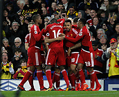 5th November 2017, Goodison Park, Liverpool, England; EPL Premier League Football, Everton versus Watford; Richarlison of Watford is congratulated by his team mates after scoring his team's first goal after 46 minutes