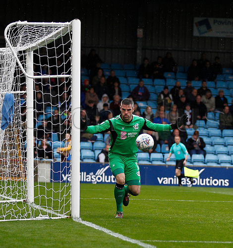 7th October 2017, Glanford Park, Scunthorpe, England; EFL League One football, Scunthorpe versus Wigan; Matthew Gilks of Scunthorpe United watches the ball safely past his post
