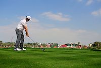 Tommy Fleetwood (ENG) tees off on the 9th tee during Thursday's Round 1 of the HSBC Golf Championship at the Abu Dhabi Golf Club, United Arab Emirates, 26th January 2012 (Photo Eoin Clarke/www.golffile.ie)