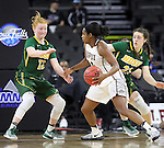 SIOUX FALLS, SD: MARCH 4: Danielle Lawrence #14 of IUPUI drives toward North Dakota State defenders Sarah Jacobson #12 and Kennedy Childers #23 on March 4, 2017 during the Summit League Basketball Championship at the Denny Sanford Premier Center in Sioux Falls, SD. (Photo by Dick Carlson/Inertia)