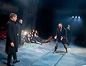 The Crucible by Arthur Miller, directed by Yael Farber. With Richard Armitage as John Proctor,  Samantha Corley as Abigail Williams in centre with Ensemble. Opens at The Old Vic Theatre  on 3/7/14  pic Geraint Lewis