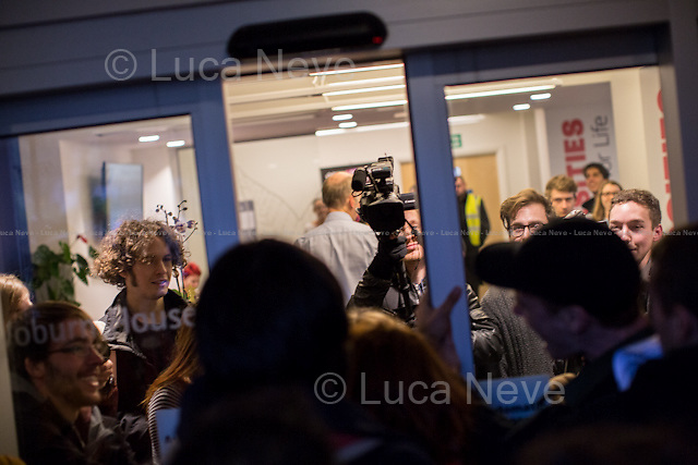 London, 03/12/2014. On the &quot;National Day of Action for Free Education&quot;, students from SOAS and UCL marched in Waburn House where they symbolically occupied Universities UK to protest against the marketisation of British universities and other related issues. From the organisers press release: &lt;&lt;On 3rd December students from SOAS and UCL occupied Universities UK (UUK), which is &quot;the voice of UK Universities&quot;, comprising the executive heads of 134 UK universities and colleges. Thus UUK is instrumental in the current marketisation of education. Moreover it is UUK who recently made the proposal to cut the pensions payable to staff by between 11-27%, resulting in the UCU marking boycott. This was a national day of action for free education, on the day that George Osborne made his autumn statement, which saw protests, occupations and other actions on campuses across the country. The occupation of UUK was an act of protest in support of free, democratic, liberated education [&hellip;]&gt;&gt;.<br /> <br /> For more information please click here: http://bit.ly/15CQudH