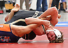 Thomas Rohan of Wantagh, right, battles Nick Belitsis of Great Neck South at 145 pounds in the Nassau County Divsision I varsity wrestling quarterfinals at Hofstra University on Saturday, Feb. 11, 2017. Trailing 5-4 with less than 10 seconds left in the match, Rohan scored a two-point reveral and tacked on three additional points in the final moments to win by decision 9-5.