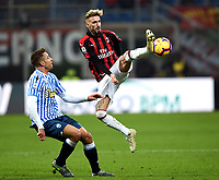 Samuel Castillejo and Thiago Cionekduring compete for the ball during the Serie A 2018/2019 football match between AC Milan and SPAL at stadio Giuseppe Meazza in San Siro, Milano, December 29, 2018 <br /> Foto Image Sport / Insidefoto