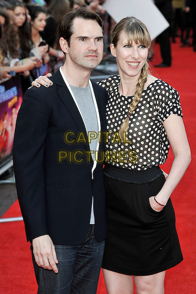 """Jimmy Carr & Karoline Copping.""""The Inbetweeners Movie"""" UK premiere, Vue West End cinema, Leicester Square, London, England..August 16th, 2011.half length suit jacket top polka sot couple braid plait grey gray .CAP/MAR.© Martin Harris/Capital Pictures."""