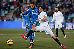 Getafe´s Diego Castro and Sevilla´s Arribas during 2014-15 La Liga match at Alfonso Perez Coliseum stadium in Getafe, Spain. February 08, 2015. (ALTERPHOTOS/Victor Blanco)
