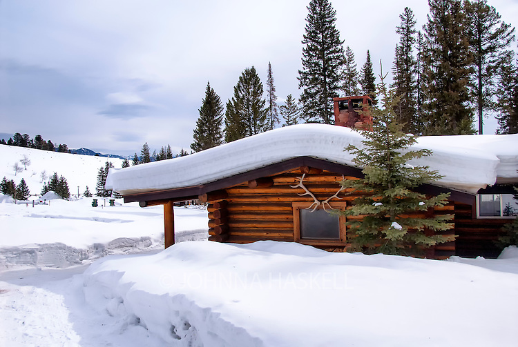 Cabin in winter on Lone Mountain Ranch, Montana.