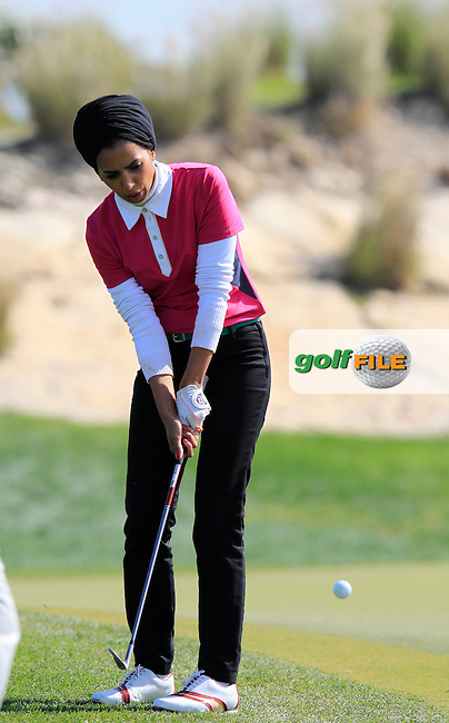 Yasmine al-Sharshani (QAT) during Wednesday's Pro-Am day of the 2015 Commercial Bank Qatar Masters, Doha Golf Club, Doha, Qatar.: Picture Eoin Clarke, www.golffile.ie: 1/20/2015
