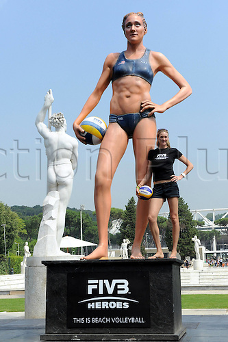 16 06 2011  Beach volleyball FIVB World Cup 2011 Rome Italy  Beach Volleyball FIVB World Championships Photo call Picture shows Kerri Walsh USA Keyword Statue