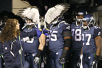 January 02, 2011:  The Seattle Seahawks Hawk waits to be released from it's trainers hands at the start of the game against St. Louis at Quest Field in Seattle, WA.  Seattle won 16-6 over St. Louis.