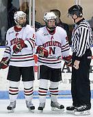 Steve Silva (NU - 17), Tyler McNeely (NU - 94) - The visiting Boston College Eagles defeated the Northeastern University Huskies 4-1 on NU's senior night, Saturday, March 8, 2008, at Matthews Arena in Boston, Massachusetts.