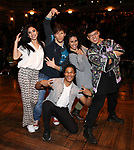 "Lauren Boyd,  Thayne Jasperson, Daniel Yearwood, Gabriella Sorrentino and Preston Mui  during the Q & A before The Rockefeller Foundation and The Gilder Lehrman Institute of American History sponsored High School student #eduHAM matinee performance of ""Hamilton"" at the Richard Rodgers Theatre on 3/12/2020 in New York City."