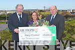 MARCH WINNER: Mary O'Connor, Ballyheigue, who was presented with the Lee Strand winning cheque of EUR5,000 for the month of March by Bill Kennedy and Jerry Dwyer (Lee Strand) on Monday morning outside Lee Strand Head Office, Tralee.