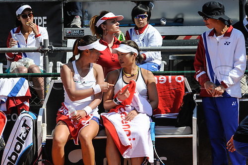 April 23rd 2017, Circolo Tennis Barletta, Barletta, Italy; Fed Cup tennis play-offs World Group II, Italy versus Chinese Taipei; Chinee captain Shi Thing Wang speak with Chia-Jung CHUANG and Ching-Wen HSU