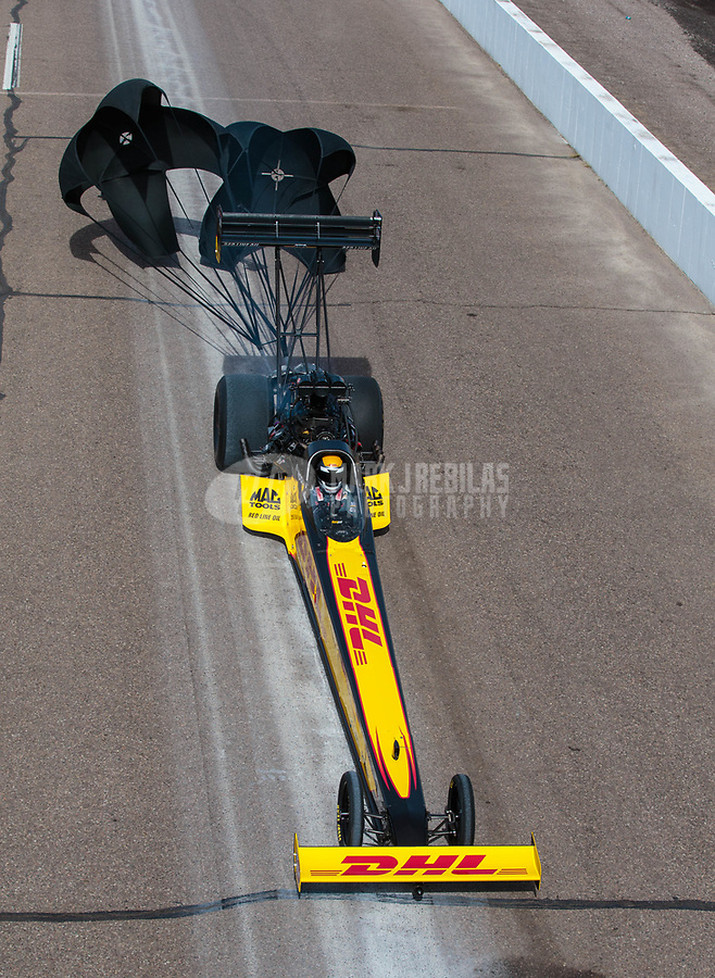 Feb 24, 2019; Chandler, AZ, USA; NHRA top fuel driver Richie Crampton during the Arizona Nationals at Wild Horse Pass Motorsports Park. Mandatory Credit: Mark J. Rebilas-USA TODAY Sports