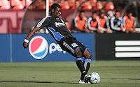 Brandon McDonald kicks the ball. The Columbus Crew defeated the San Jose Earthquakes 3-0 at Candlestick Park in San Francisco, California on August 8, 2009.